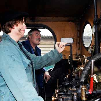 At the controls of a steam engine nt